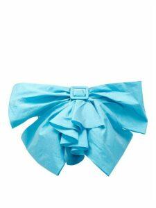 The Attico - Buckled-bow Taffeta Cropped Top - Womens - Blue