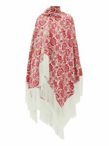 Erdem - Thera Floral-jacquard Wrap Cape - Womens - Red White