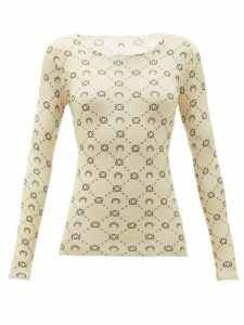 Marine Serre - Crescent Moon-print Stretch-jersey Top - Womens - Tan
