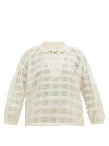 Story Mfg. - Amber Striped Organic-cotton Blouse - Womens - White