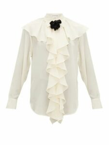 Victoria Beckham - Corsage-brooch Ruffled Silk Blouse - Womens - Ivory