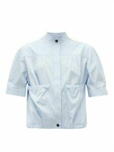 Salvatore Ferragamo - Gathered-pocket Cotton-poplin Shirt - Womens - Light Blue