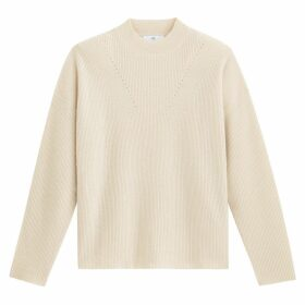 Cashmere Ribbed Jumper with High Neck
