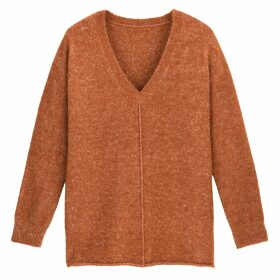 Oversized Textured Knit Jumper with V-Neck
