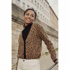 Cotton Mix Cardigan in Jacquard Leopard Print