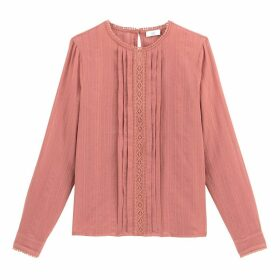 Cotton Pleated Macrame Blouse with Long Sleeves and Crew Neck