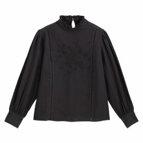 Floral Embroidered Cotton Blouse with High Neck and Long Sleeves