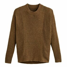 Loose Fit Sparkly Jumper in Chunky Knit with Crew Neck
