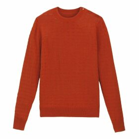 Fine Pointelle Knit Jumper with Round Neck and Buttoned Shoulder