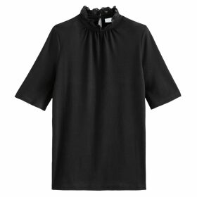 Short-Sleeved Cotton Mix T-Shirt with High Ruffled Collar