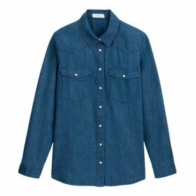 Denim Long-Sleeved Shirt with Pockets