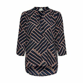 Graphic Print Blouse with 3/4 Length Sleeves and Grandad Collar