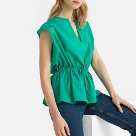 Cotton Grandad Collar Blouse with Drawstring Waist