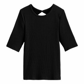 Crew-Neck T-shirt with Elbow Length Sleeves
