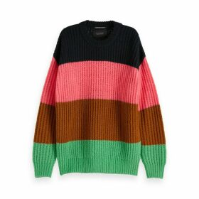 Chunky Knit Jumper with Rainbow Stripes