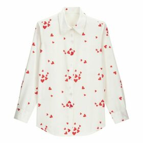 Heart Print Boyfriend Shirt with Long Sleeves