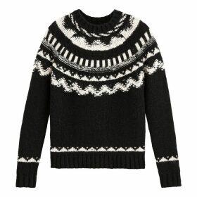 Wool Mix Jacquard Jumper in Fair Isle Pattern