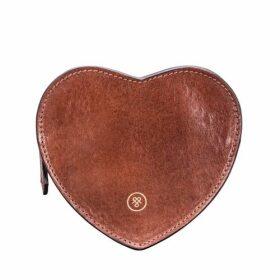 Maxwell Scott Bags Maxwell Scott Leather Heart Shaped Handbag Tidy - Mirabellal Tan
