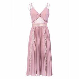 True Decadence True Decadence Dusty Pink Crepe Cami Pleated Midi Dress