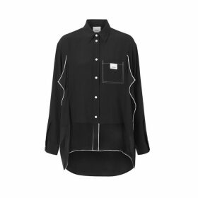 Burberry Piping Detail Silk Oversized Shirt And Tie Twinset
