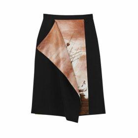 Burberry Ship Print Silk Panel Wool Pencil Skirt