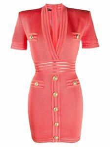 Balmain V-neck short-sleeved dress - PINK