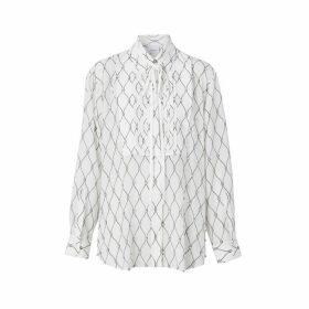 Burberry Crystal Detail Net Print Silk Oversized Tie-neck Shirt