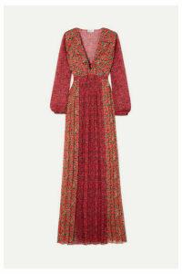 Raquel Diniz - Lily Pleated Floral-print Silk-chiffon Maxi Dress - Red