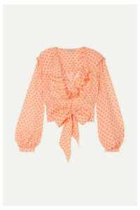 Temperley London - Ruffled Polka-dot Silk-chiffon Blouse - Peach
