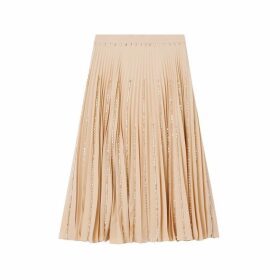 Burberry Crystal Detail Plisse Soleil Stretch Cady Skirt