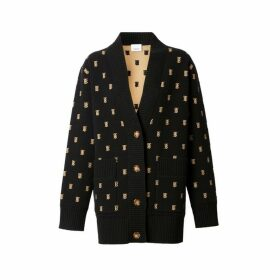 Burberry Monogram Wool Cashmere Blend Oversized Cardigan