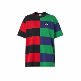 Burberry Contrast Stripe Cotton Oversized T-shirt