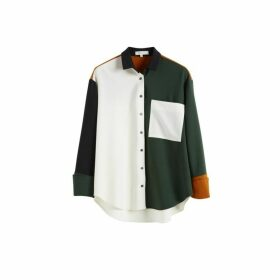 Chinti & Parker Black Colour Block Wool-twill Boyfriend Shirt