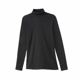Cotton Long-Sleeved T-Shirt with Roll-Neck
