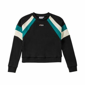 Eibhleann Cropped Colour Block Sweatshirt in Cotton Mix with Crew Neck