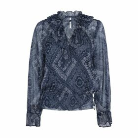 Paisley Print Boho Shirt with Long Sleeves