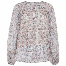 Floral Print Cotton Blouse with Long Sleeves