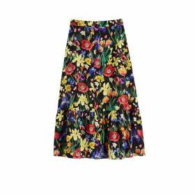 Chinti & Parker Black Charleston Floral-print Silk Skirt