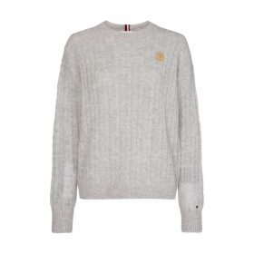 Cable Knit Crew-Neck Jumper in Wool Mix