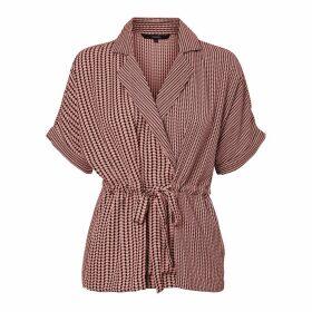 Short-Sleeved Wrapover Blouse