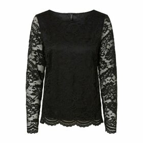 Crew Neck Lace Blouse with Long Sheer Sleeves