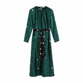 Chinti & Parker Green Painted Spot Silk Dress