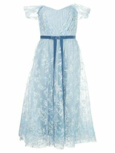 Marchesa Notte flocked glitter tulle gown - Blue
