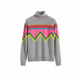 Chinti & Parker Grey Ski Slope Wool-cashmere Roll Neck Sweater