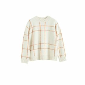 Chinti & Parker Cream Contrast Check Merino Wool Sweater