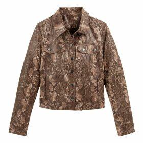 Short Snakeskin Effect Jacket with Pockets