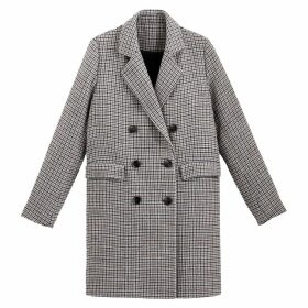 Long Checked Coat with Double-Breasted Buttons and Pockets