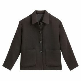 Boxy Double Crepe Jacket with Pockets