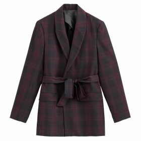 Checked Jacket with Tie-Waist and Pockets