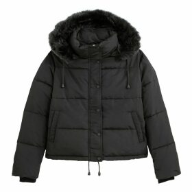 Short Padded Puffer Jacket with Hood and Pockets